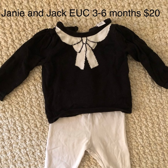 Janie and Jack Other - Black sweater with white bow and white leggings